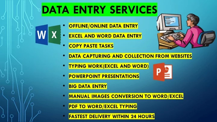 i will assist you to do any type of data entry jobs within few hours