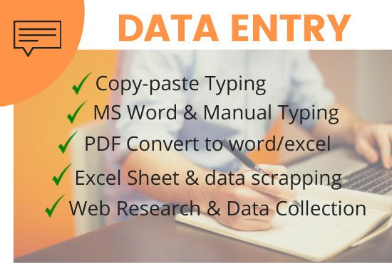 I will do Data Entry,  Typing,  Copy and Paste works for you