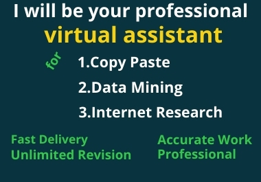 I will be your professional virtual assistant and data mining
