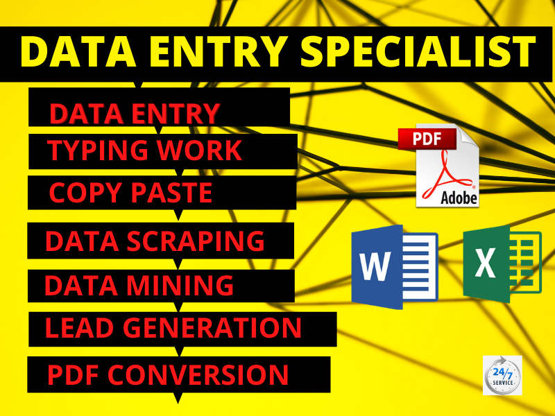 I will do data entry,  copy paste,  fast typing,  pdf conversion,  lead generation