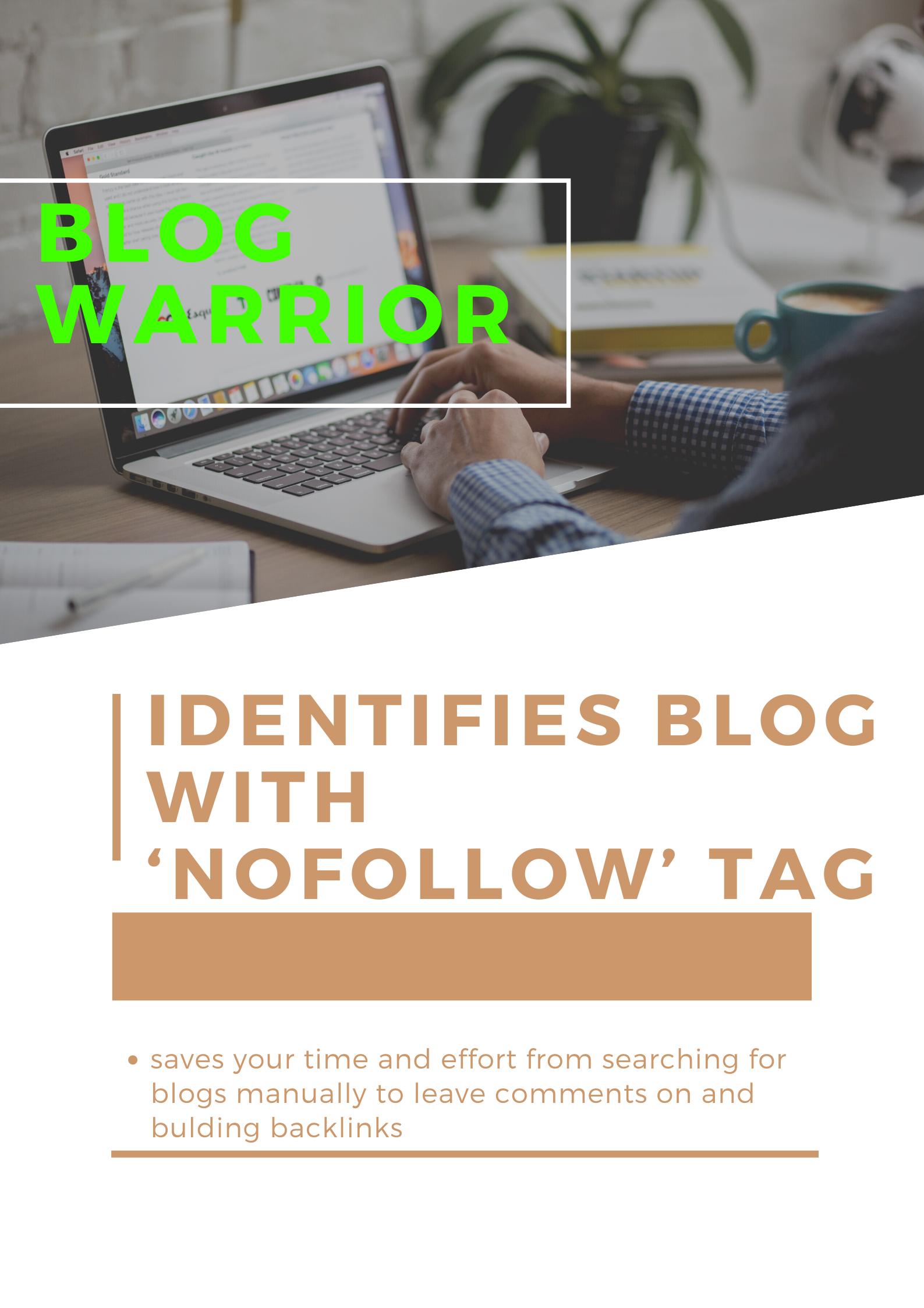 Blog warrior-Identifies wordpress blog with nofollow tag
