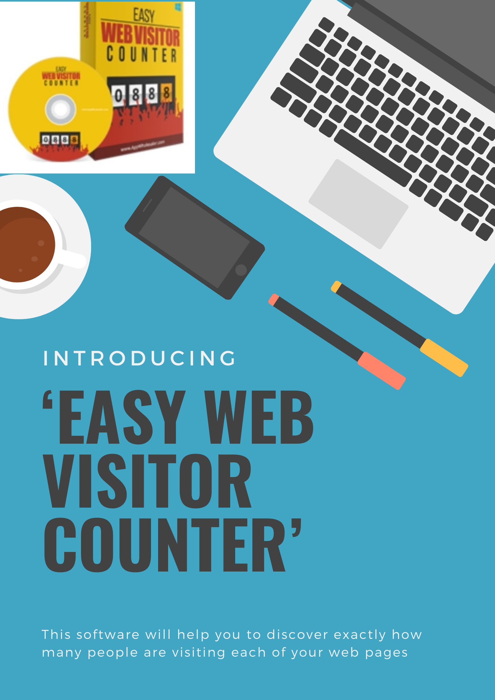 Easy Web visitor counter -Discover how many people are visiting each of your web pages