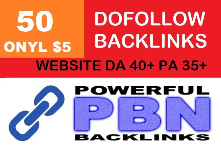 I will do 50 Dofollow Backlinks With DA 40+ PA 35+ Powerful Web 2.0 PBN
