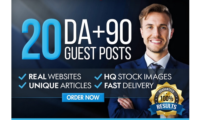 I Will Write And Publish 20 HQ Guest Post On DA 50 TO 90 Sites With Your Relevant Niches