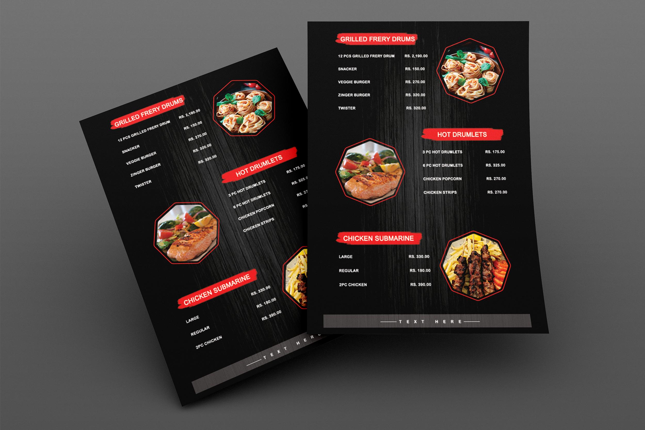 I will do a modern food menu,  digital menu or restaurant menu
