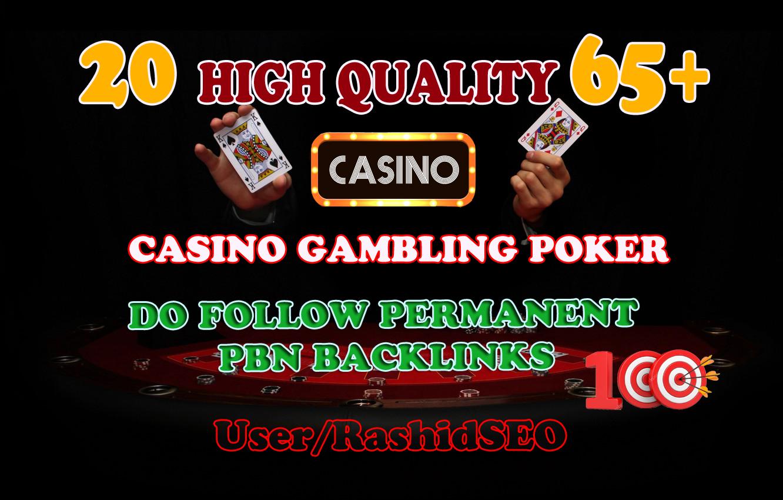 Get 20 High Quality DA 65+ Casino Gambling poker homepage pbn backlinks and judi related sites.