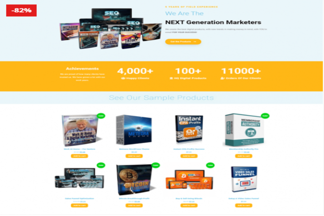 I will build wordpress woocommerce online store with 100 digital product ready to sell