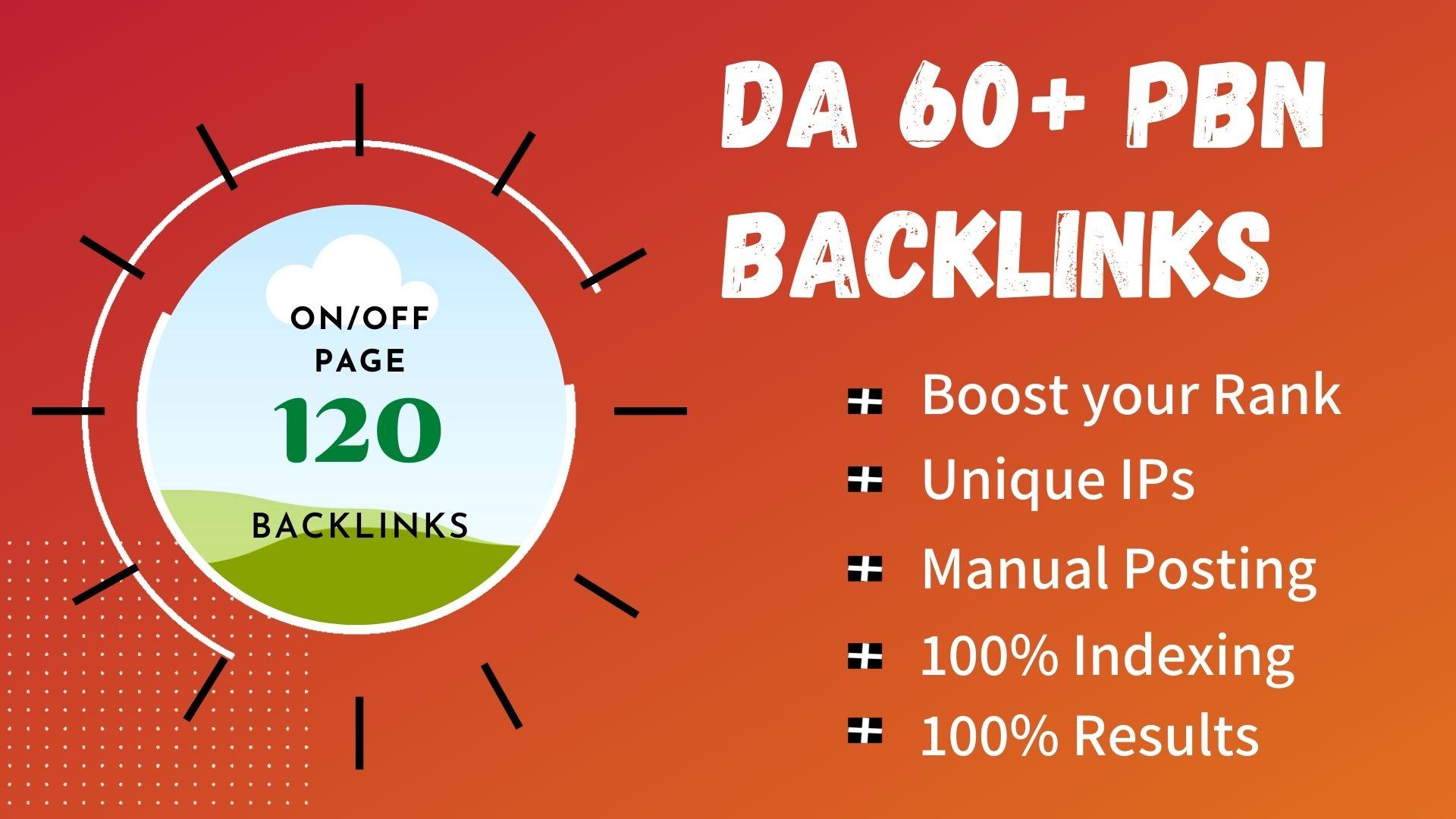 Get 120 High Quality DA 65+ Permanent Quality Dofollow PBN Links.