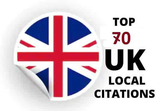 I will create70 UK local citation listings for local SEO