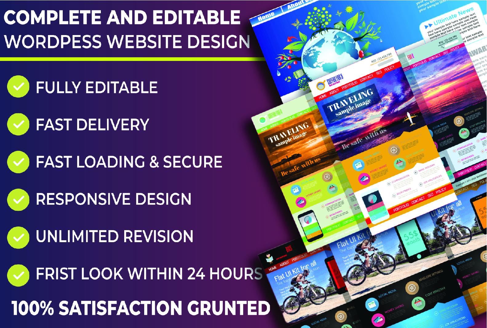 Design completed WordPress website customized premium theme and plugin