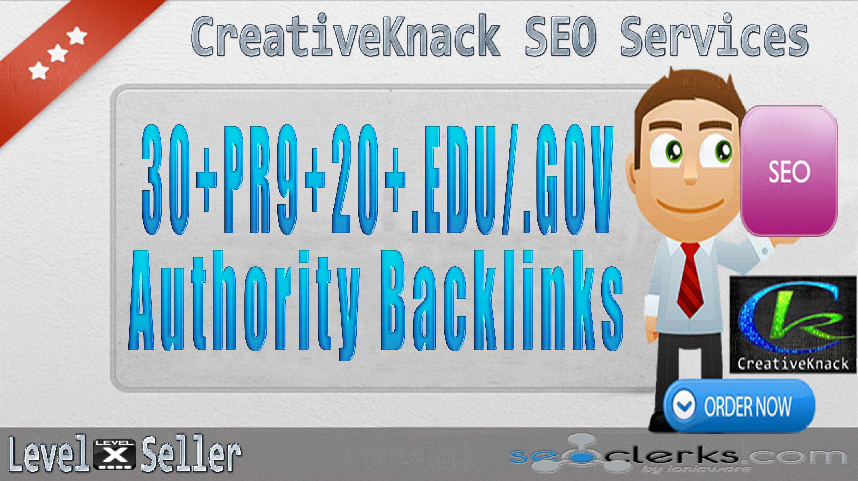 30+ PR9 Backlinks with 20+ .EDU/.GOV Authority Backlinks only