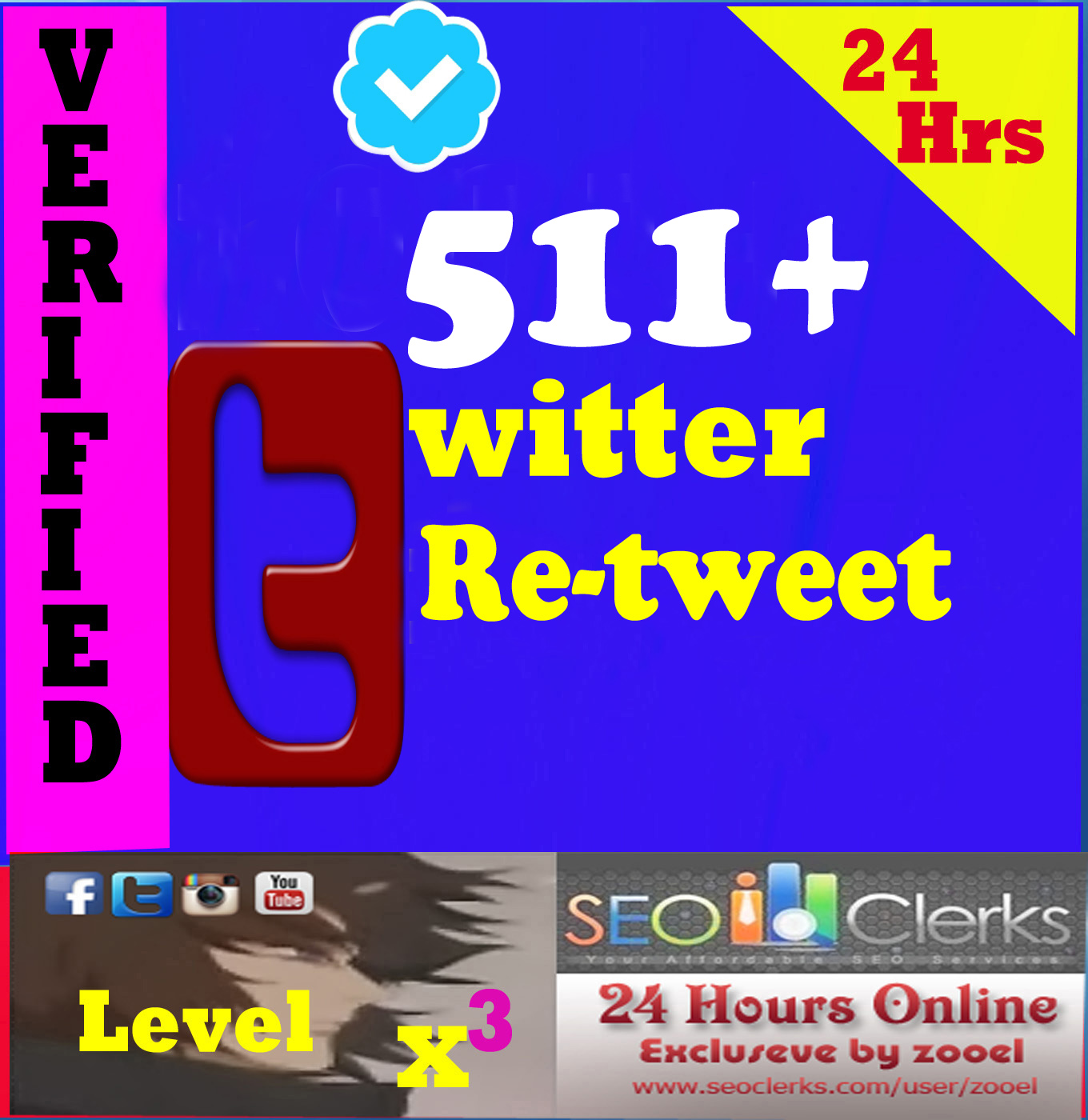 High Quality 511+ Twitter Retweets or favorites or Followers from 511+ Different Users
