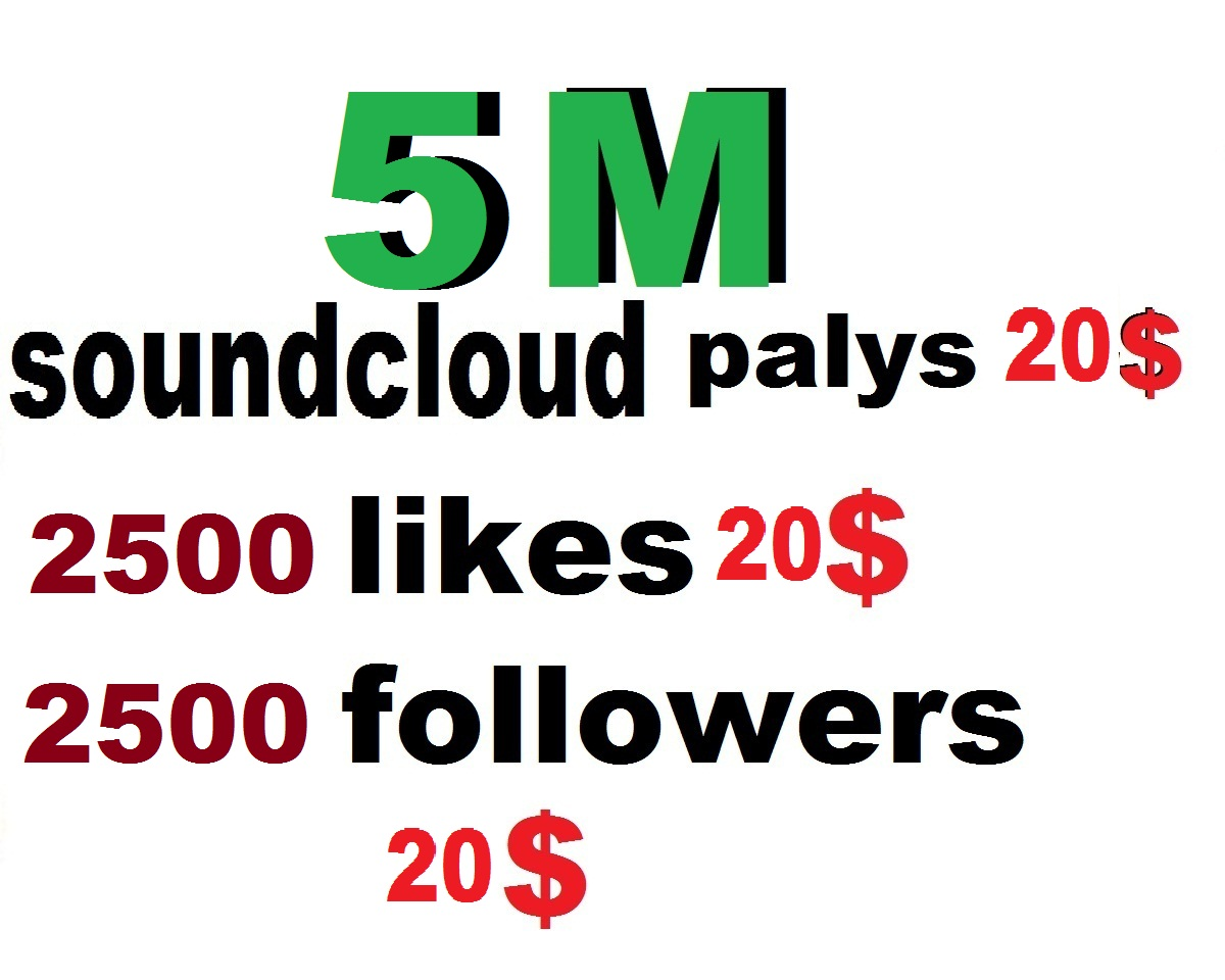 5m soundcloud plays or 2500 soundclud likes or followers or 1500 repost or 500 comments