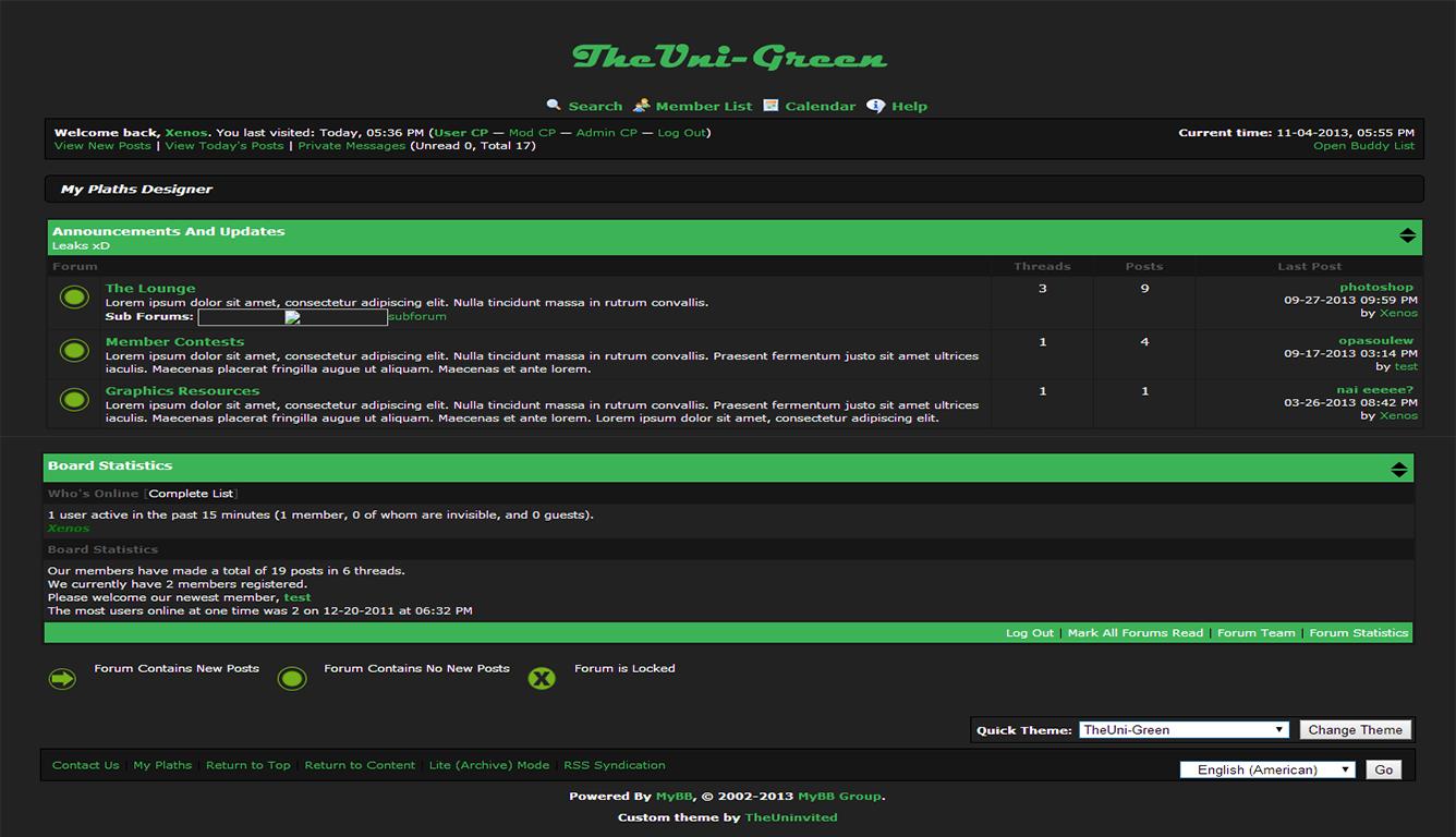 Simple mybb green theme TheUni-Green