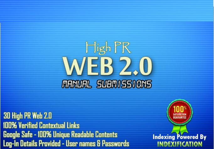 Provide 30 submission using 15 High PR web2 and article directories for your Seo