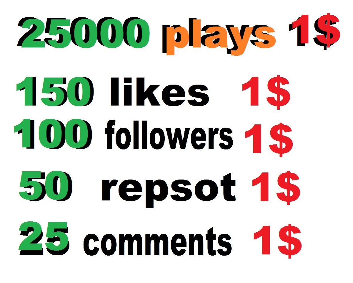 25000 USA soundcloud plays or 150 likes or 50 repost or 100 followers or 25 soundcloud comments