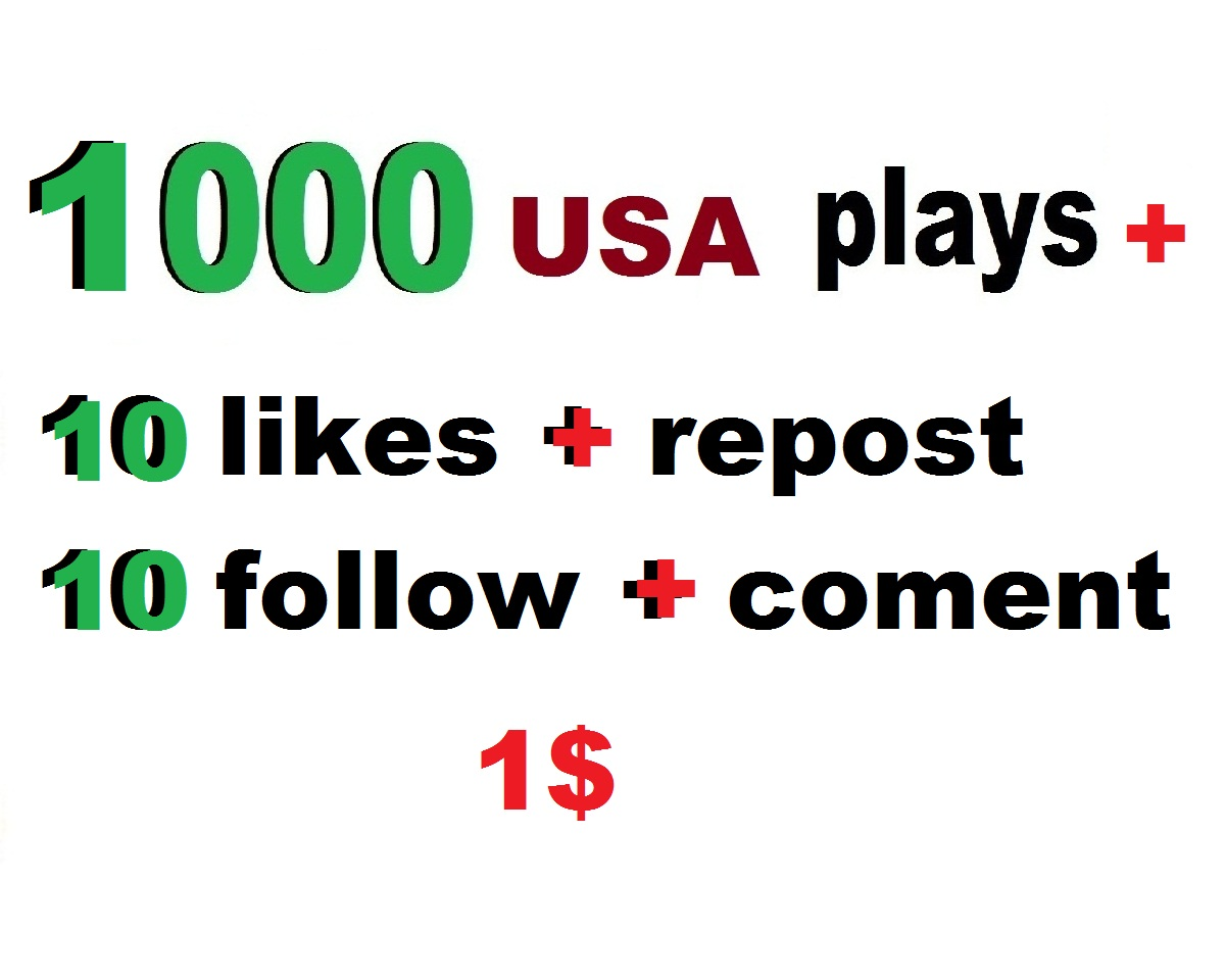 1000 usa plays promotion with 10 likes 10 repost 10 comments