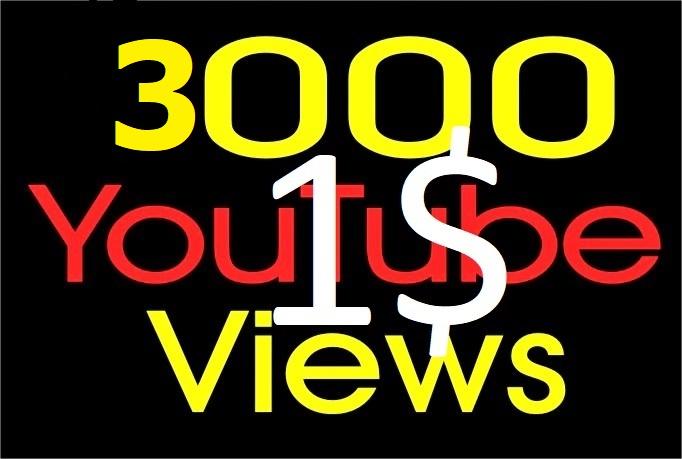 3000+ Youtube Vie ws with non drop