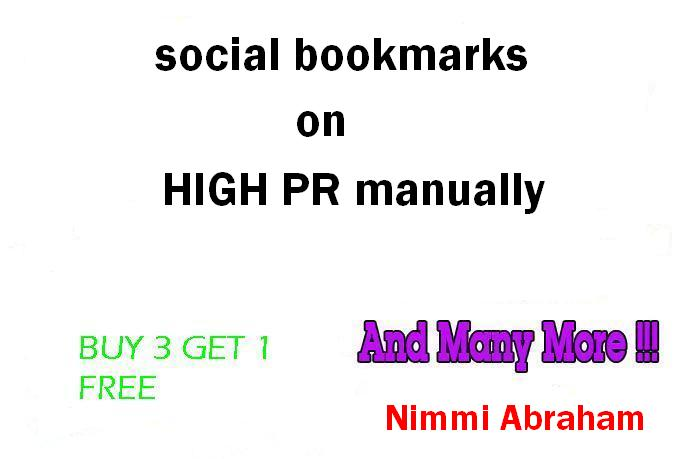 I will manually Bookmark in Top 30 PR8 to PR4 Social bookmarking sites for