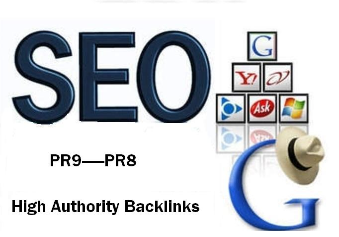 I will manually create 20 PR9 - PR8 High Authority Backlinks Penguin and Panda Safe + Ping them