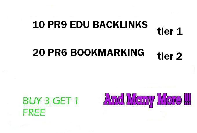 Dofollow 2 Tier Link Pyramid using 10PR9 Edu Domains with 20 PR6 Social Bookmarks