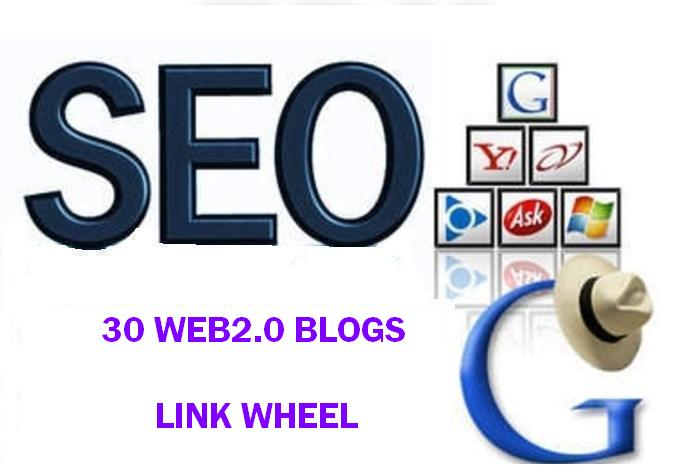 Link Wheel of 30 High PR web 2 properties + Ping + rapid indexing
