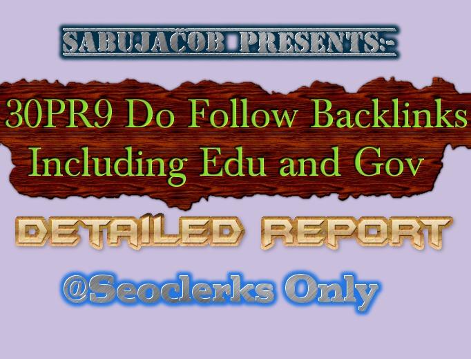 30 PR9 do follow backlinks including edu and Gov domains