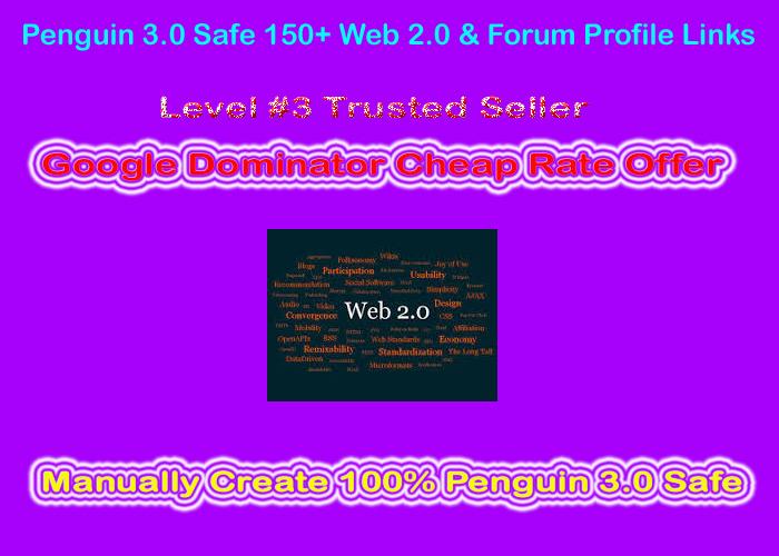 Manual Penguin & Panda Safe 200 Web 2.0 & Forum Profile Links from DA50+