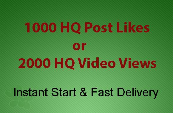 Instant 1000 High Quality Social Likes or 2000 Video Views