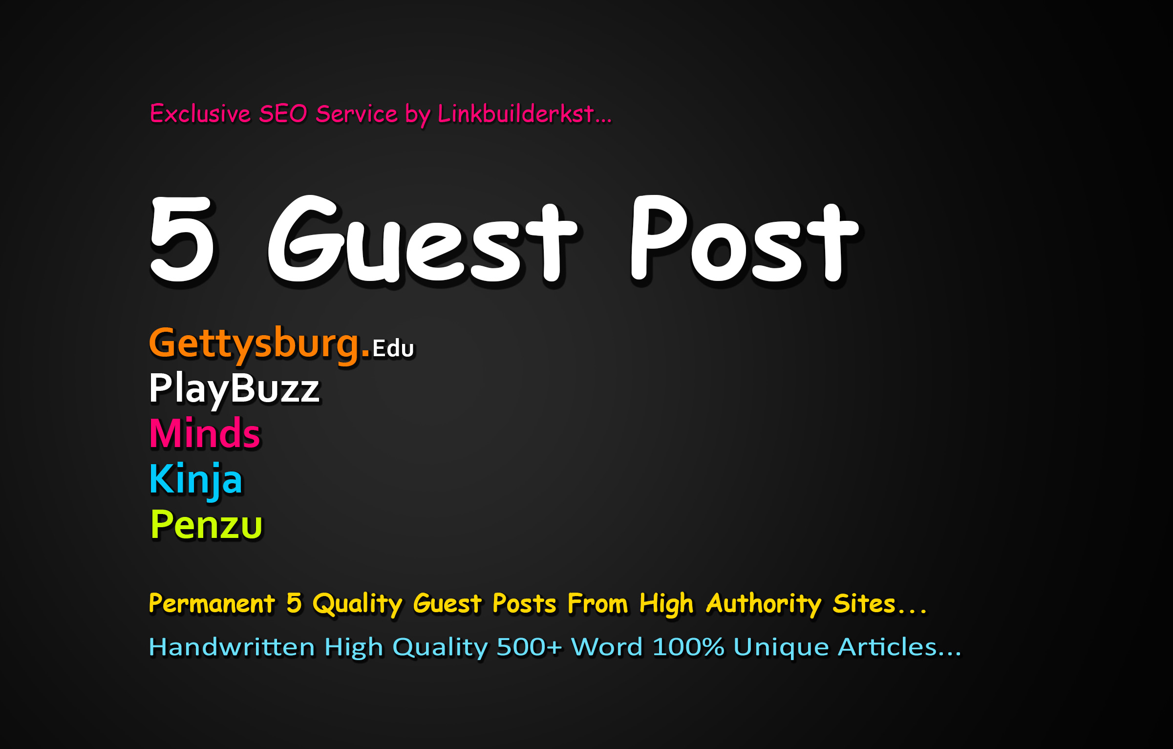 Write And Publish 5 High Quality Guest Posts On DA 60+ to 100 Platforms