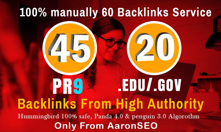 I will manually do 40 PR9 + 20 EDU/GOV Safe SEO High Pr Backlinks 2019 Best Results