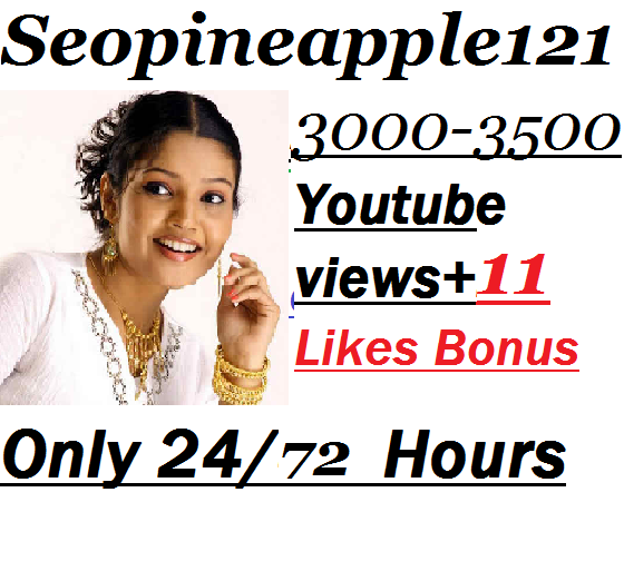 3000-3500 YouTube Views + 11 Extra Bonus YouTube Likes 24/72 Hours Delivery Time
