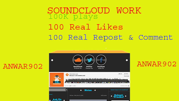 100,000 soundcloud play and 100 likes 100 repost and 100 custom comment
