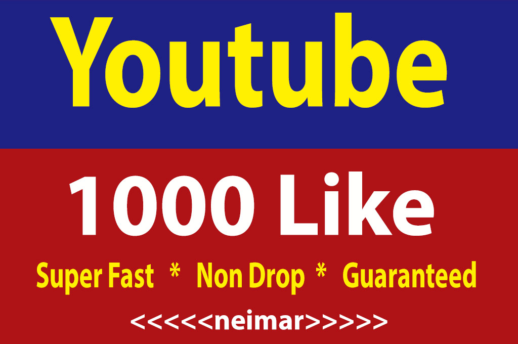 Safe 1000 Youtube L-ike High Quality Non Drop Guaranteed 12 Hours Delivery