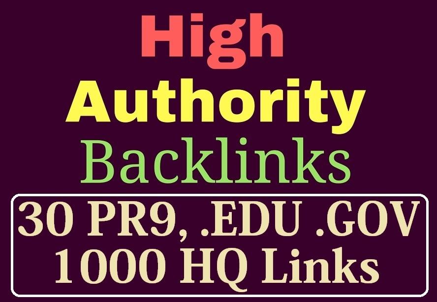 manually do 30 PR9,  EDU/GOV and 1000 Safe SEO Backlinks 2019 Best Results