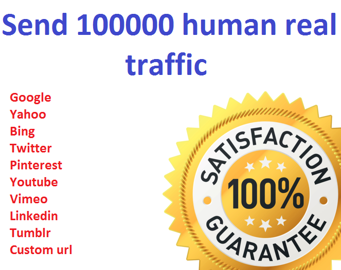 Send 100000+ Human Traffic by Google Twitter yahoo etc