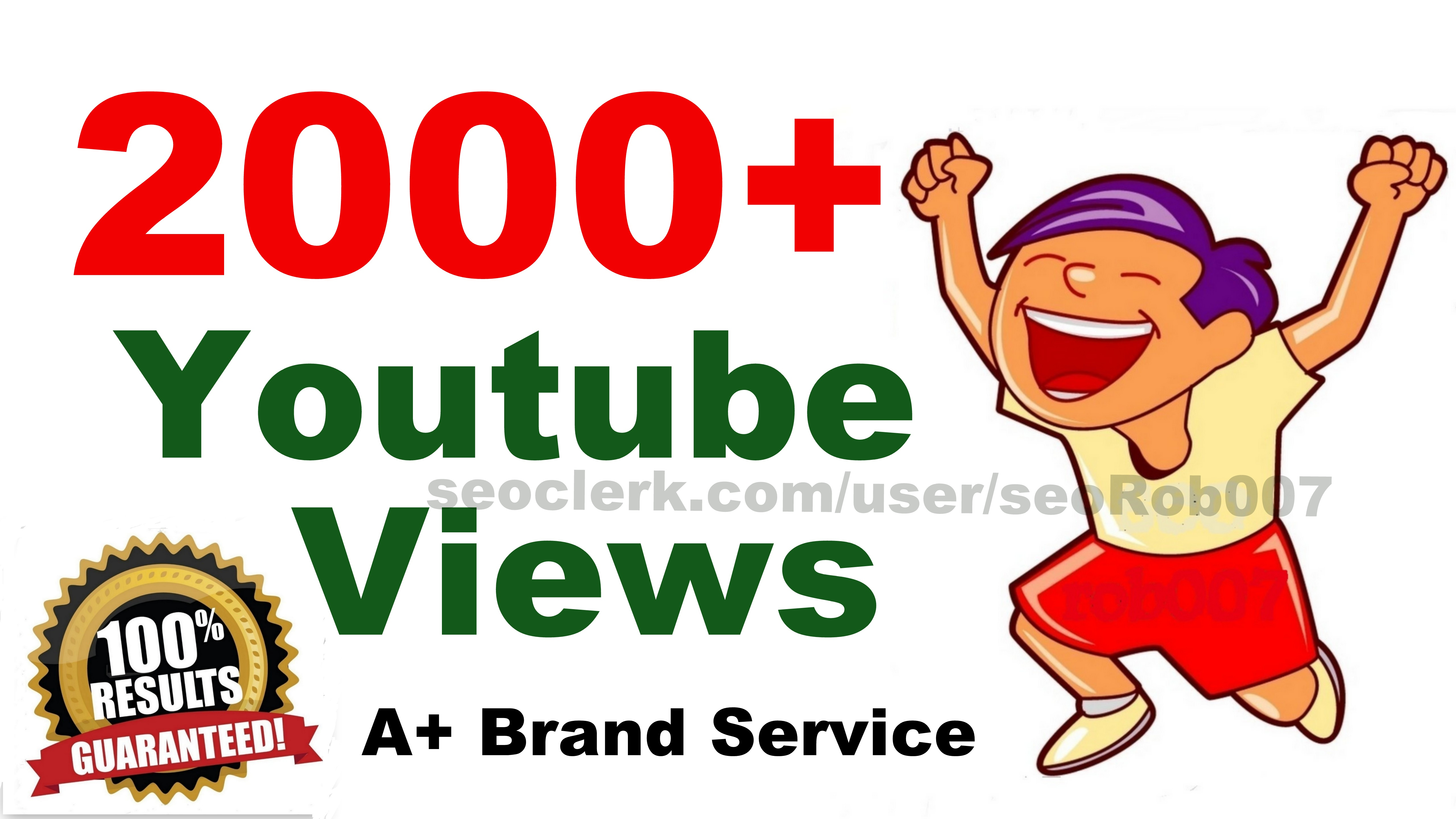 2000+ Y0uTube Vieews in 24-48 Hours Good Retention A+ BrandService