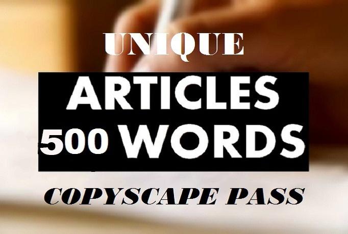 I Will Write A UNIQUE 500 Word ARTICLE