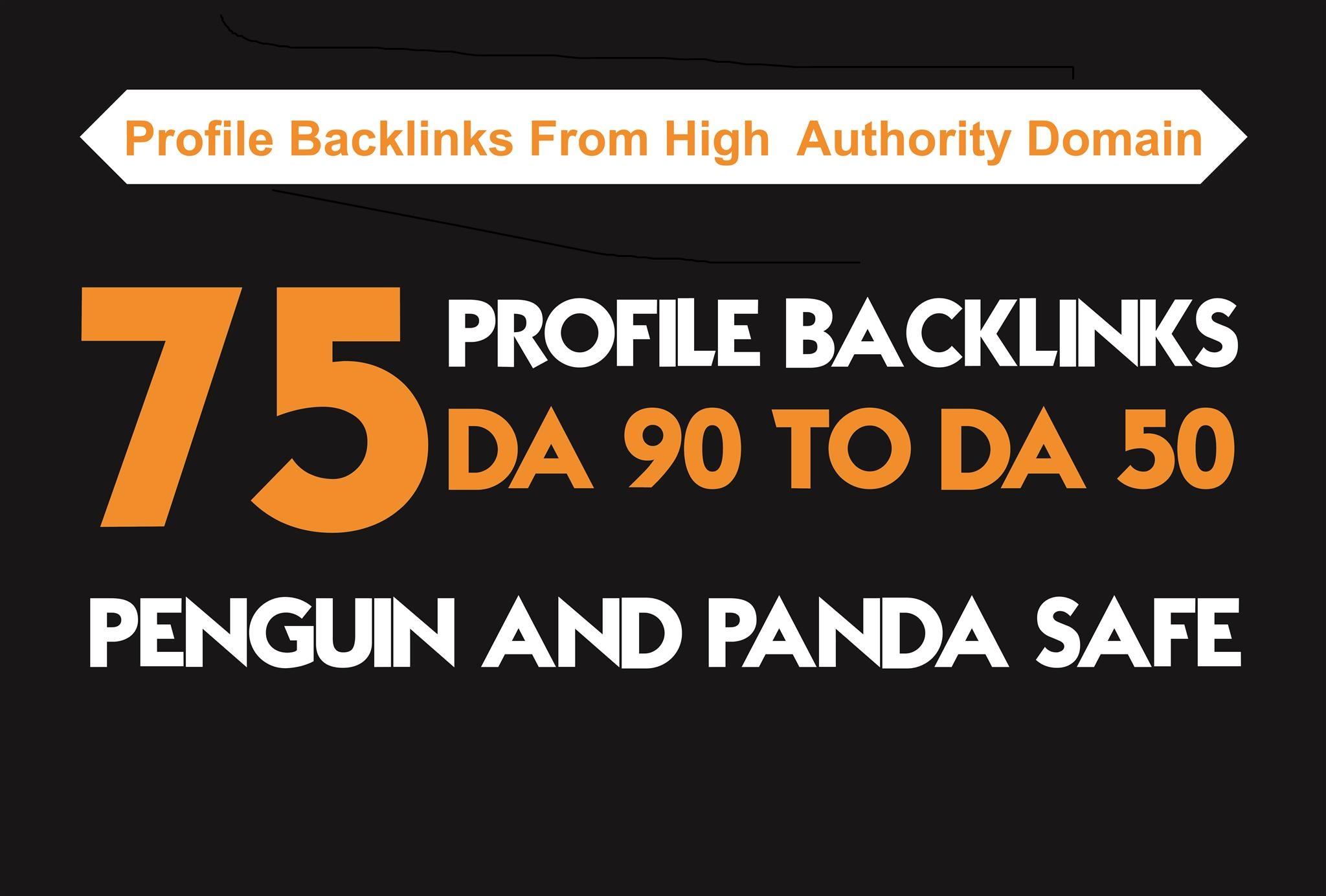 I will manually build 75 DA 90 PLUS profile  BACKLINKS
