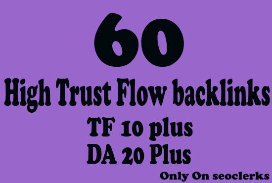 Get 70 High Trust Flow and Citation Flow Backlinks on high DA