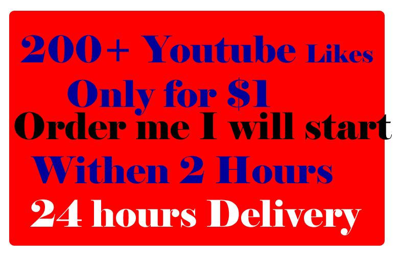 I will give you 200+ Youtube Likes for your video only