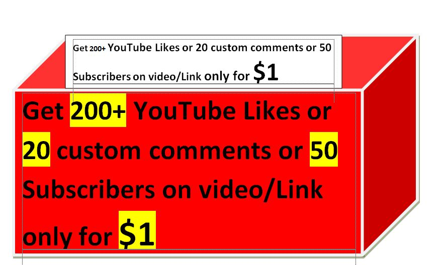 Get 200+ YouTube Likes or 20 custom comments on video
