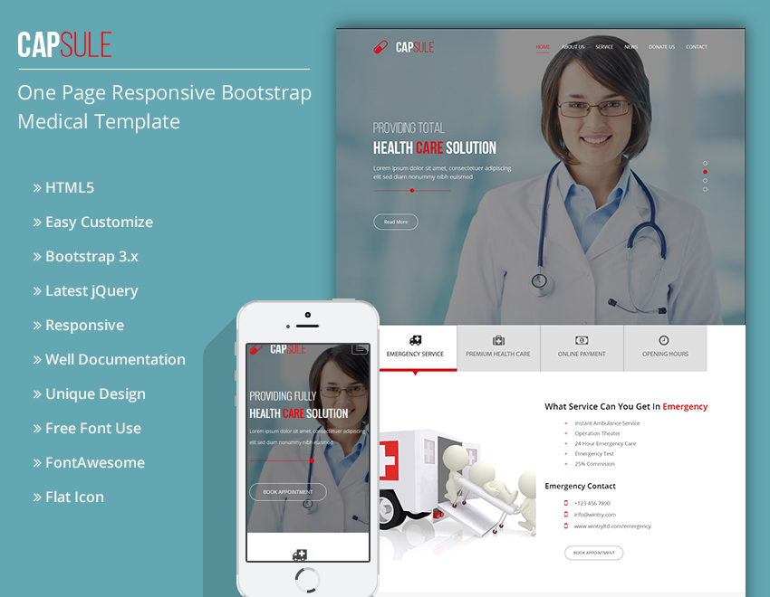 CAPSULE -One Page Bootstrap Responsive Medical Templa... Theme
