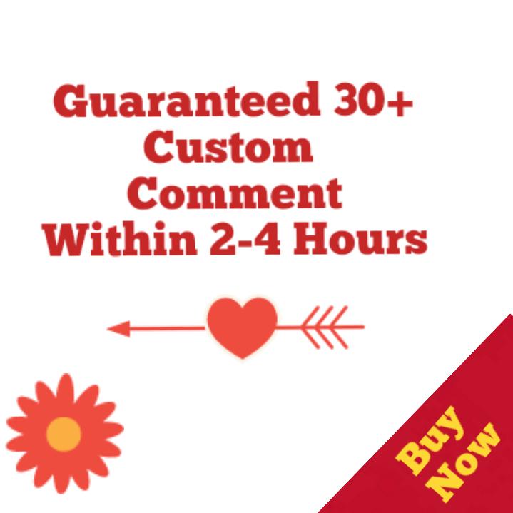 Guaranteed 30+Youtube Custom Commen ts  Video  2-6 Hours