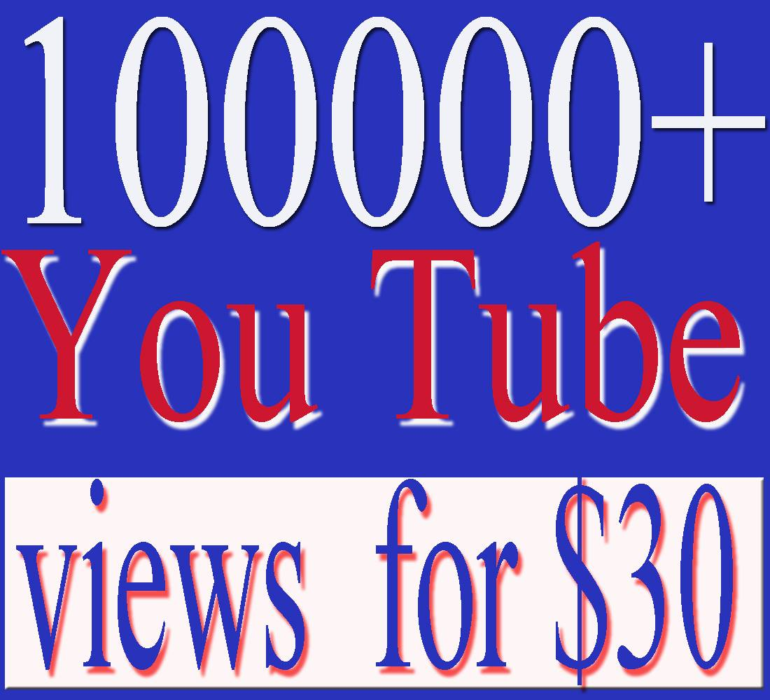 Add 100000+ youtube video views with in 48- 72 hours