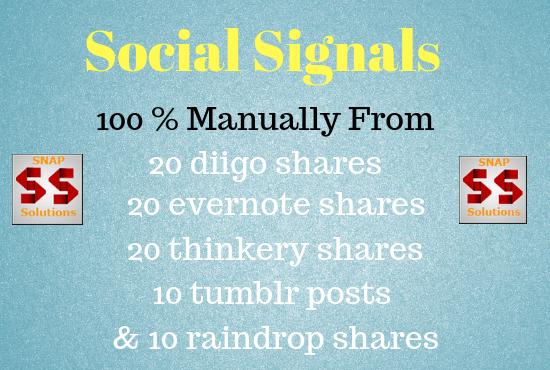 Get You 20 DIIGO,  20 THINKERY,  20 EVERNOTE,  10 TUMBLR,  10 RAINDROP SHARES FOR YOUR URL