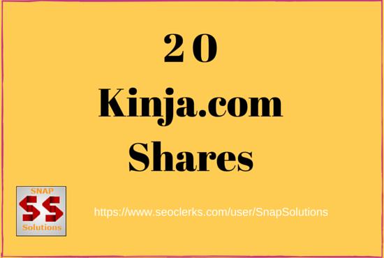 Get You 20 Kinja. com Social Shares For Your URL