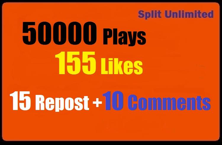 50000 SoundCloud Plays 155 Likes 15 Repost 10 Comments