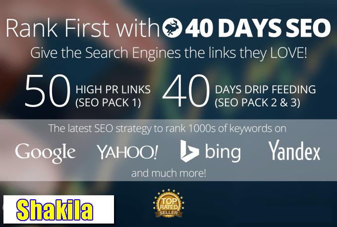 Boost your website rank on Google 50 PR-10 Niche Backlinks,  40days SEO