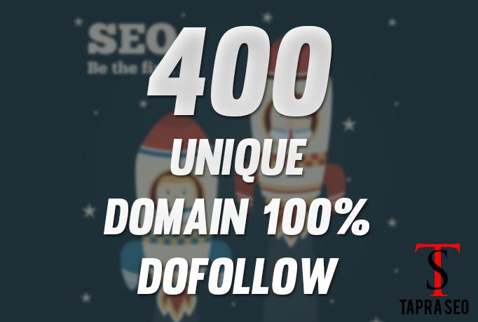 Provide 400 Backlinks 100 percent unique domains dofollow pages